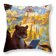 Lion Reading Throw Pillow