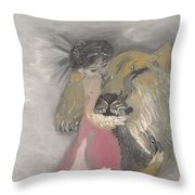 Lady And The Lion Throw Pillow