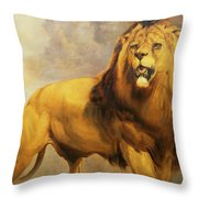 Lion  Throw Pillow by William Huggins