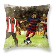 Lionel Messi Challenges The Athletic Bilbao Defense Throw Pillow