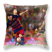 Lionel Messi  Fights For The Ball Throw Pillow