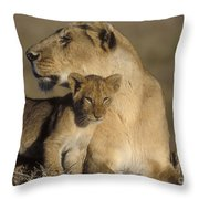 Lioness And Her Cub  Throw Pillow