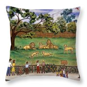 Lions At The Zoo Throw Pillow