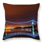 Lions Gate Bridge At Night 2 Throw Pillow