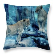 Lions Of The Mist Throw Pillow