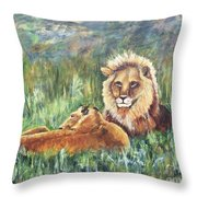Lions Resting Throw Pillow