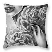 Lips Of Love Black And White Throw Pillow