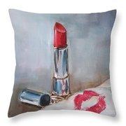 Lipstick Kiss Throw Pillow