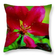 Liquid Line Flower Painting Throw Pillow