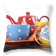 Liquid Patience Colorful Tea Set. Throw Pillow