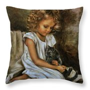 Lisa With A Cat Throw Pillow
