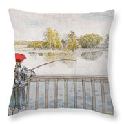 Lisbeth Angling. From A Home By Carl Larsson Throw Pillow