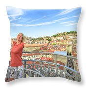 Lisbon Aerial Enjoying Throw Pillow