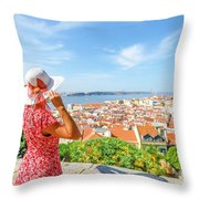 Lisbon Castle Woman Throw Pillow