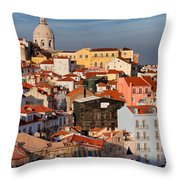 Lisbon Cityscape In Portugal At Sunset Throw Pillow