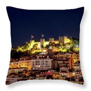 Lisbon Night Background Throw Pillow
