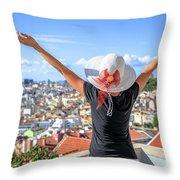 Lisbon Panorama Enjoying Throw Pillow