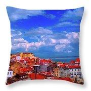 Lisbon Panorama Throw Pillow