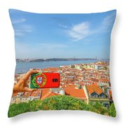 Lisbon Pictures Aerial Throw Pillow