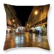 Lisbon Portugal Night Magic - Nighttime Shopping In Baixa Pombalina Throw Pillow