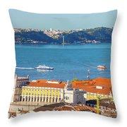 Lisbon Tagus River Skyline Throw Pillow