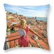 Lisbon Tourist Viewpoint Throw Pillow