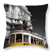 Lisbon's Typical Yellow Tram In Commerce Square Throw Pillow