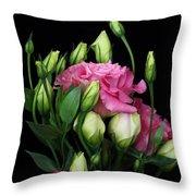 Lisianthus Flowers Throw Pillow