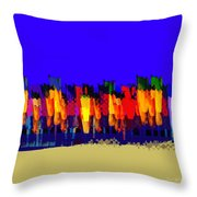 Lisse - Tulips Blue On Brown Throw Pillow