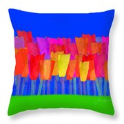 Lisse - Tulips Blue On Green Throw Pillow