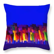Lisse - Tulips Colors On Blue Throw Pillow