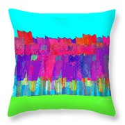 Lisse - Tulips Lighter Blue On Gree Throw Pillow