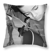 Listen Live With Heart  Throw Pillow