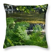 Listen To The Babbling Brook - Green Summer Zen Throw Pillow