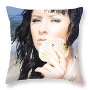 Listening To The Ocean Throw Pillow