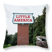 Little America Hotel Signage Vertical Throw Pillow