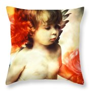 Little Angel With Rose Throw Pillow