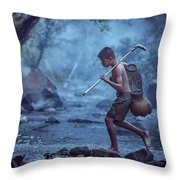 Little Asian Kid Fishing In The River Countryside Thailand. Throw Pillow