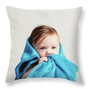Little Baby Girl Tucked In A Cozy Blue Blanket. Throw Pillow