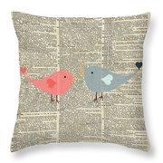 Little Birds Love Throw Pillow