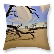 Little Blue And Driftwood Beach Throw Pillow by Lisa Wooten