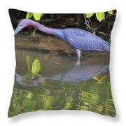 Little Blue Fishing Throw Pillow