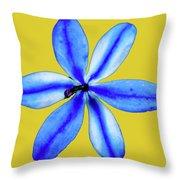 Little Blue Flower On A Yellow Background Throw Pillow
