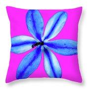 Little Blue Flower On Dark Pink Throw Pillow