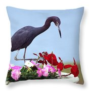 Little Blue Heron In Flower Pot Throw Pillow