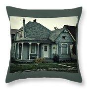 Little Blue House Throw Pillow