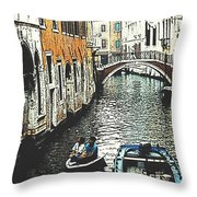 Little Boat In Venice Throw Pillow