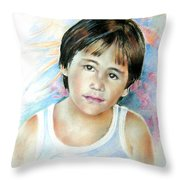 Little Boy From Tahiti Throw Pillow