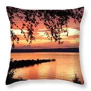 Little Breakwall Sunset Throw Pillow