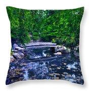 Little Bridge - Japanese Garden Throw Pillow